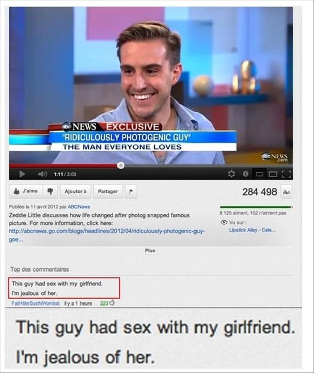 photogenic guy, funny youtube comments