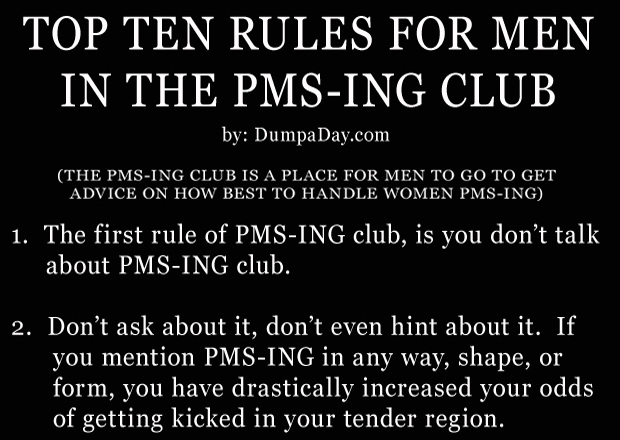 pmsing club, funny rules for men when their wife or girlfriend is on their period thumb