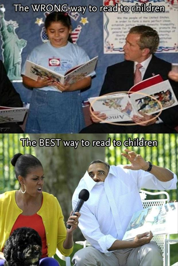 president reading to children, funny pictures