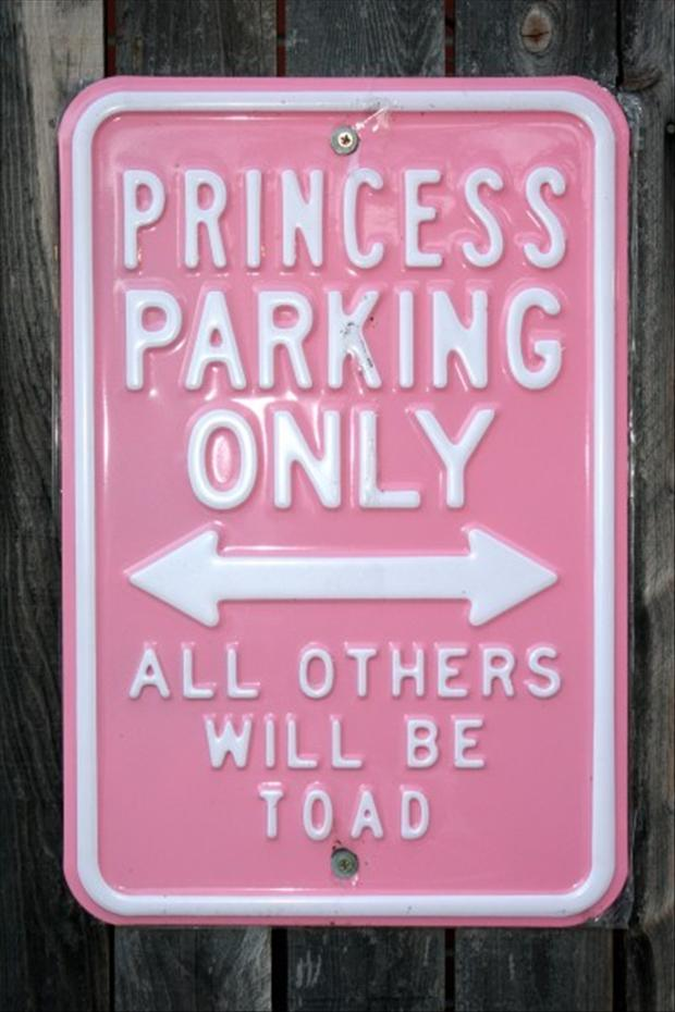 princess parking only, funny parking signs