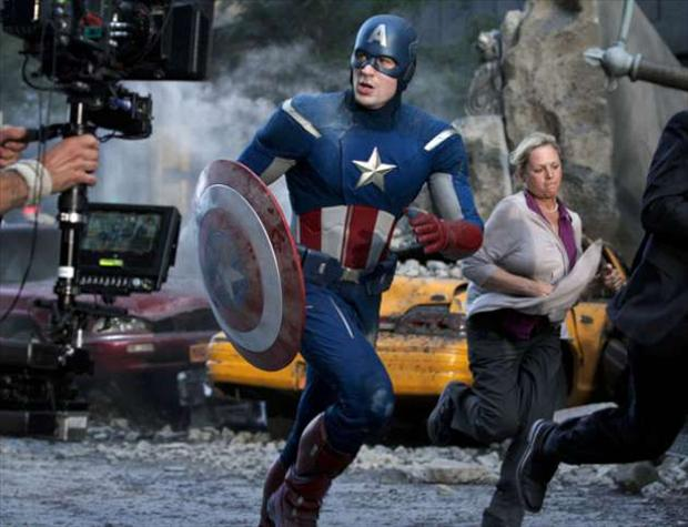running, captain america, making of the avengers