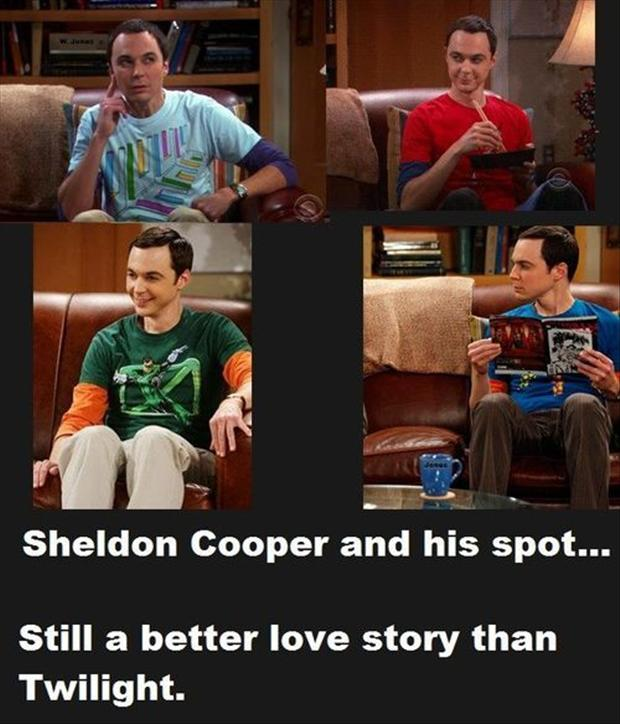 sheldon cooper and his spot, a better love story than twilight