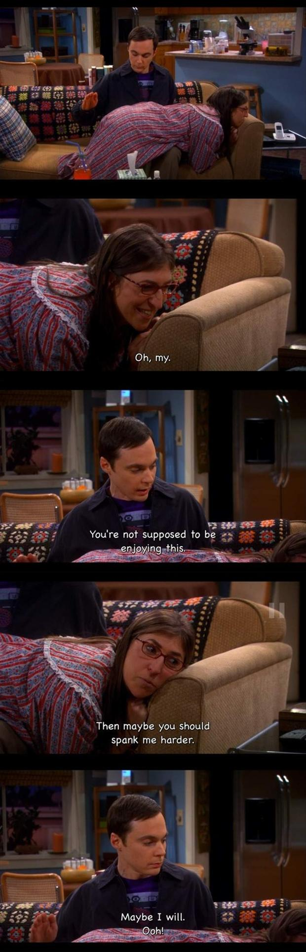 sheldon cooper spanking amy ferral fowler, funny big bang theory scene