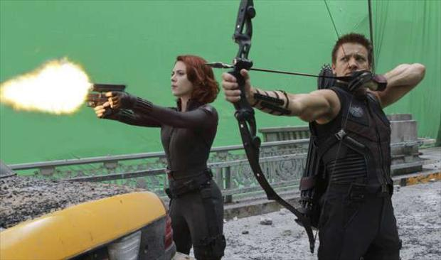 shooting a scene, making the avengers