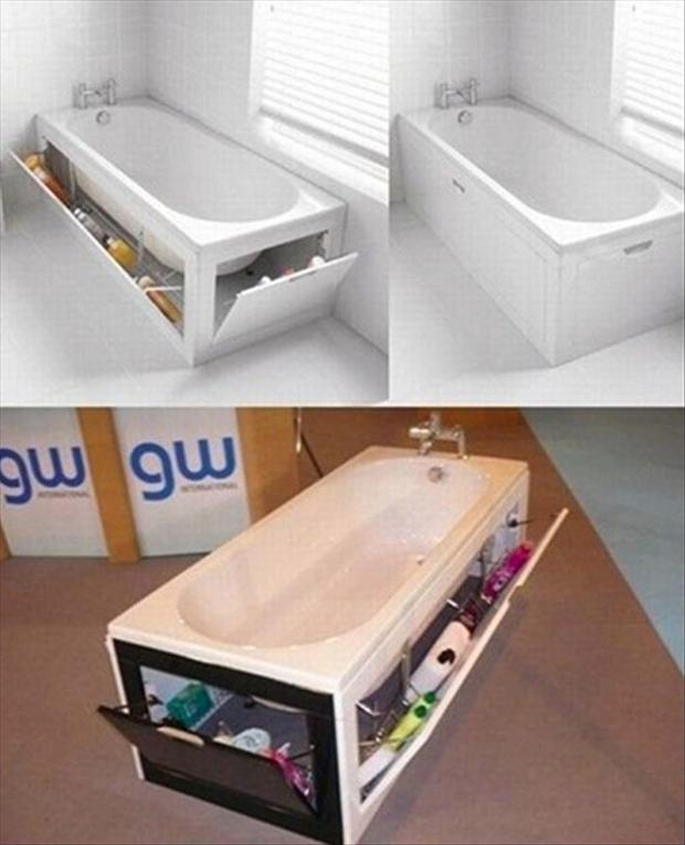 storage for the bathtub
