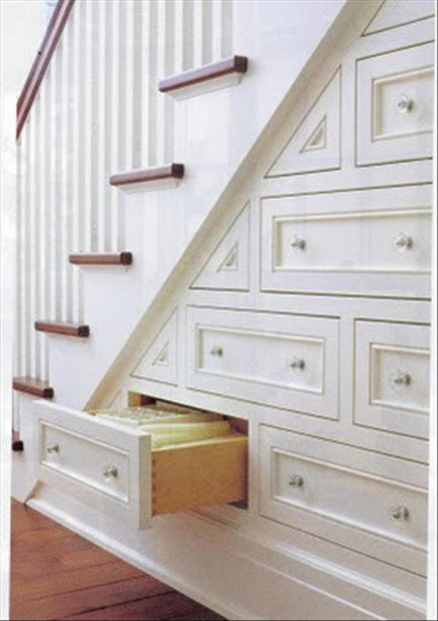 storage under the stairs, good ideas