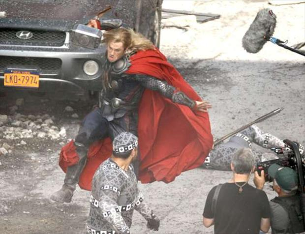 street fight scene, making of the avengers