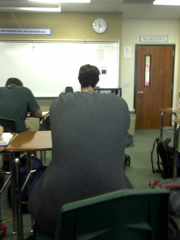 students in classroom, optical illusions