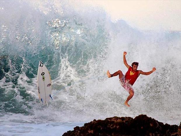 surfer wipe out, having a bad day