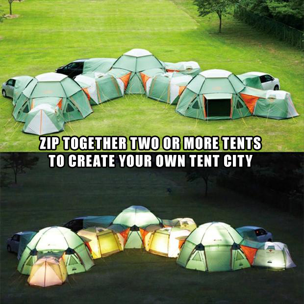 tents that zip together It's like a camping fort