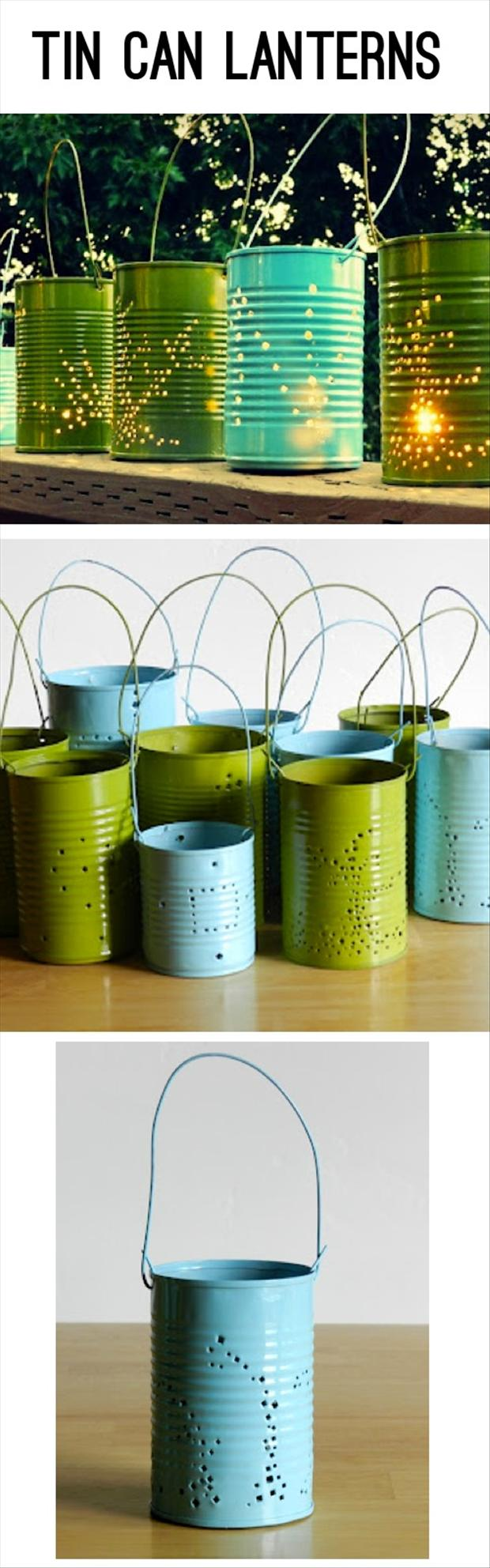 tin can lanterns, do it yourself crafts