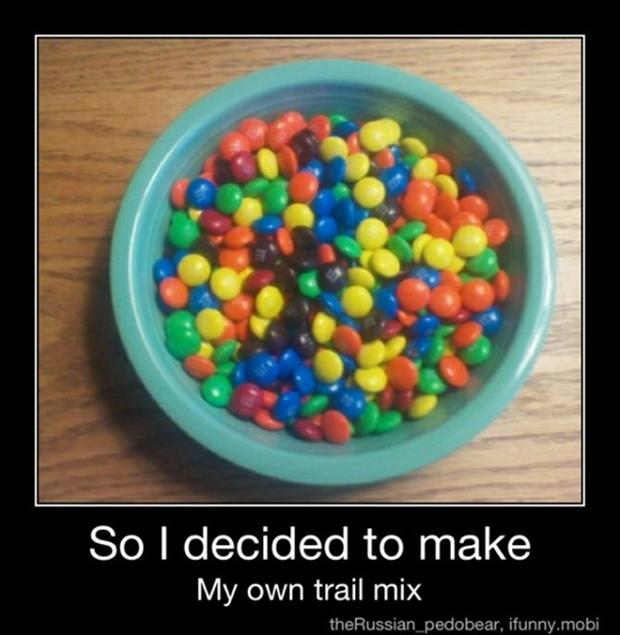 trail mix, demotivational posters