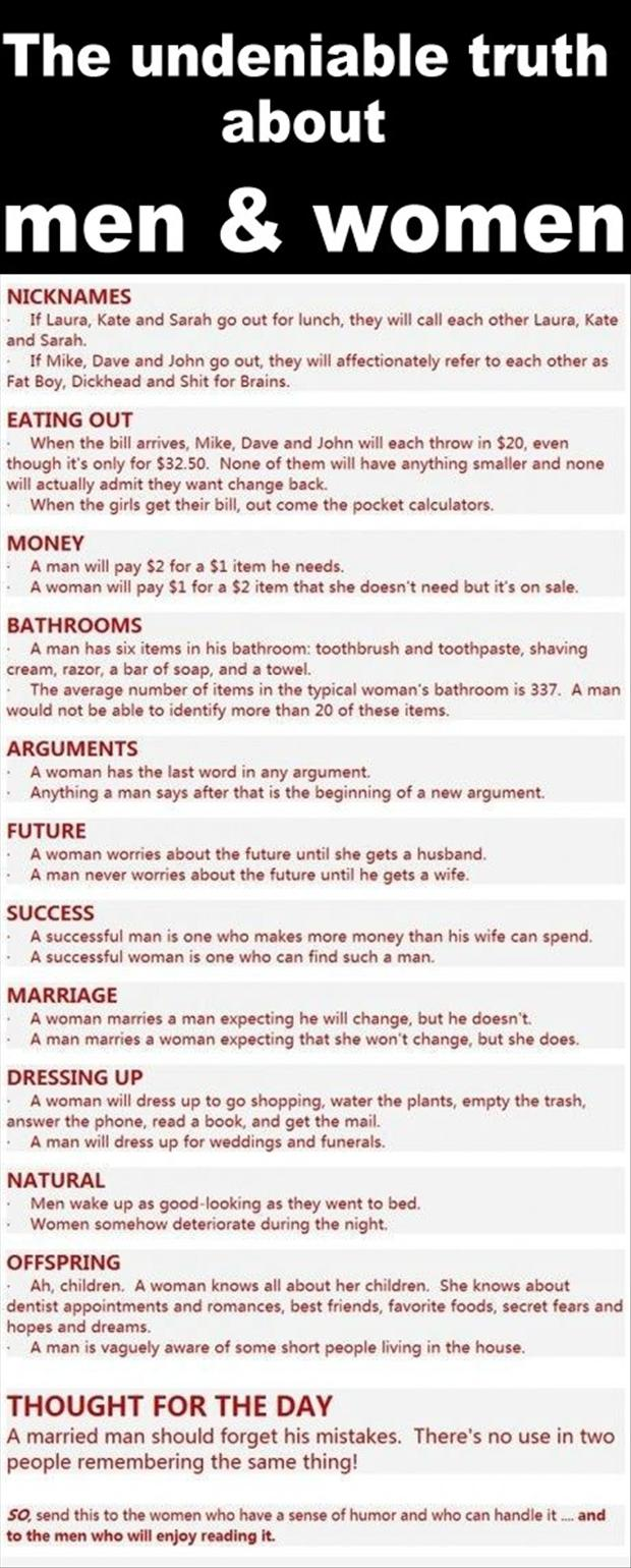 truth about men and women, funny quotes