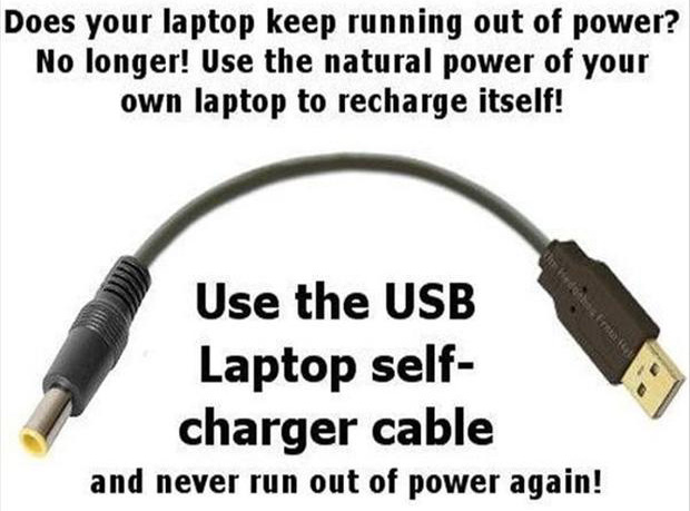 usb self laptop charger, funny pictures