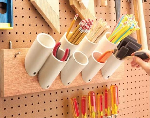 uses for pvc pipes, pencil holder