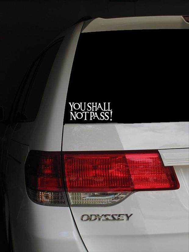 van bumper sticker, you shall not pass