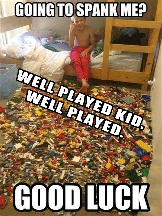 well played, kid with legos
