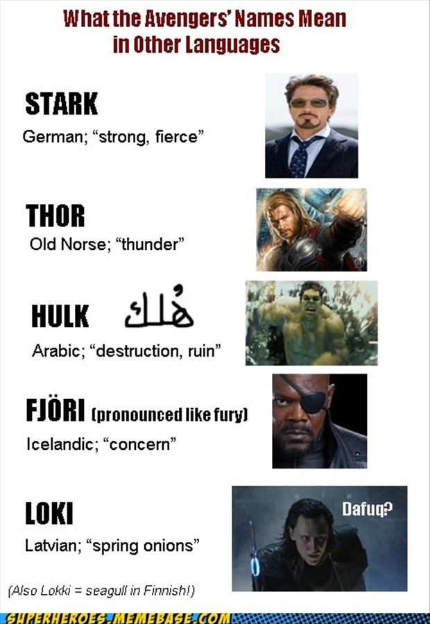 what the avengers names mean in different languages