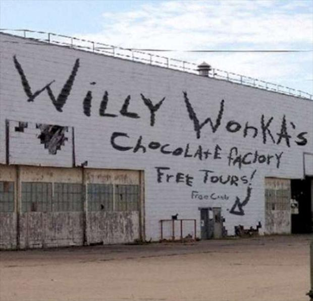 willy wonka chocolate factory, seems legit