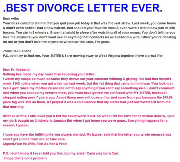 best divorce letter ever - Dump A Day
