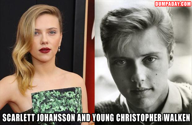 a Scarlett Johansson and young Christopher Walken look exactly alike
