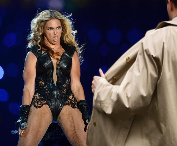 a beyonce super bowl meme, flasher