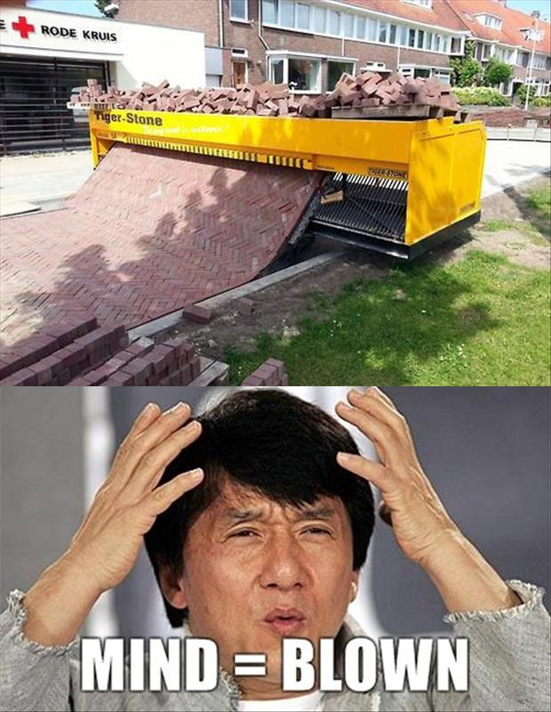 a mind blown, brick laying