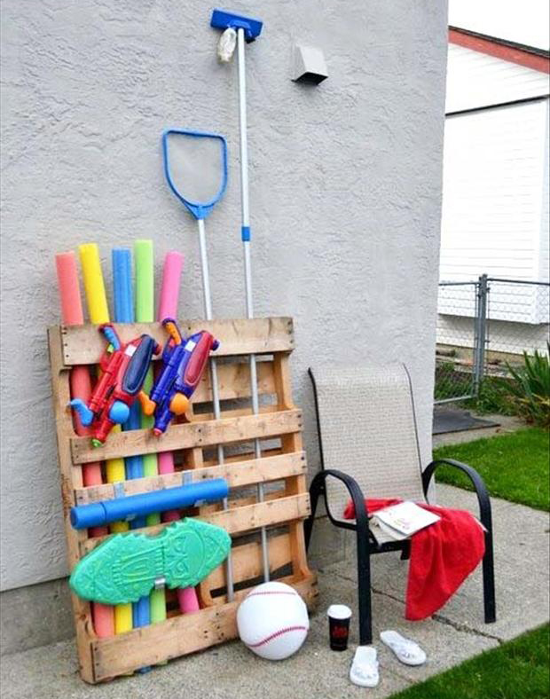 a pool toy organizer, old pallets