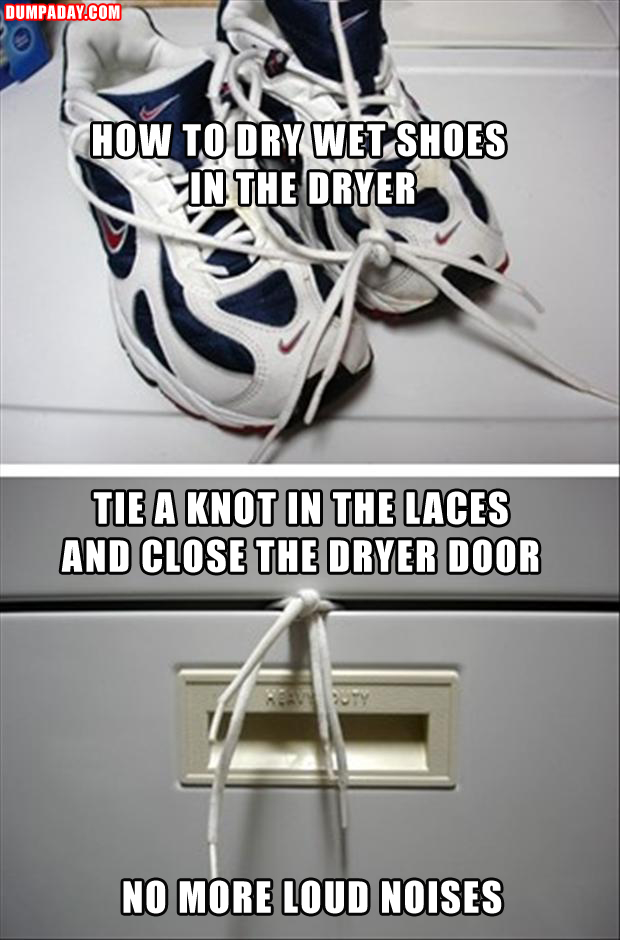 a quick tip, how to dry shoes in the dryer without the loud noise
