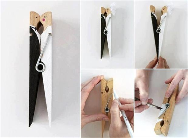 a wedding craft ideas, clothespin bride and groom