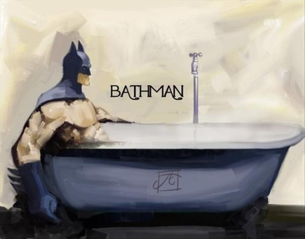 batman taking a bath