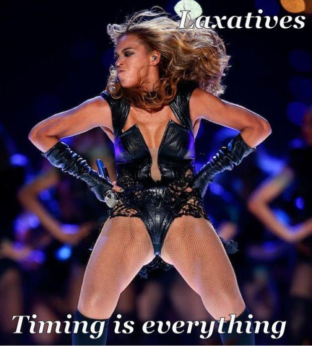 beyonce super bowl pictures laxitives funny