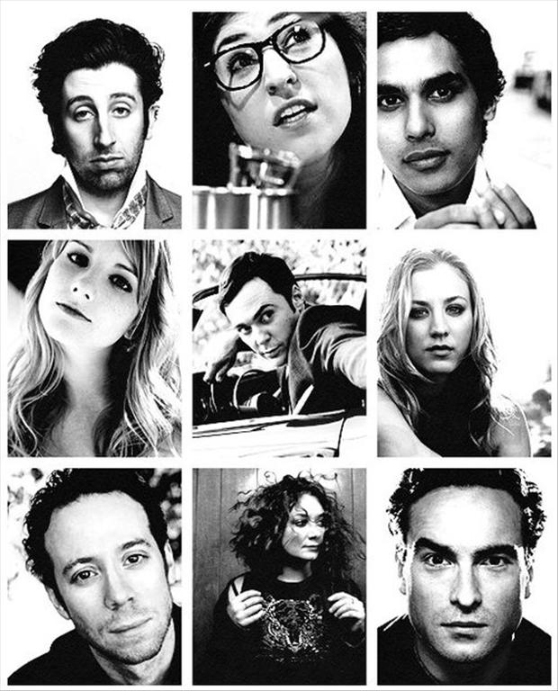 black and white pictures of the big bang theory cast members