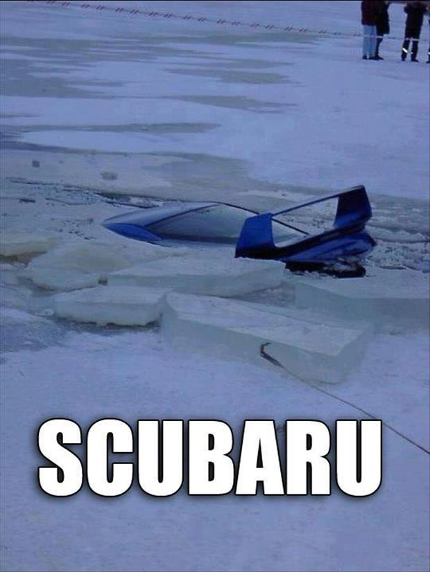 car falls through ice funny pictures