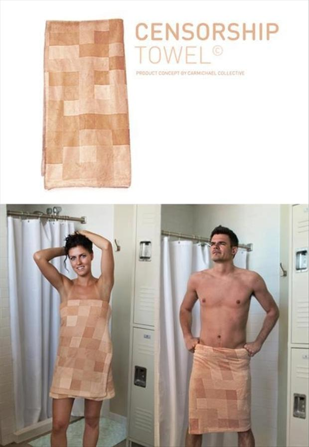 cencorship towel, funn shower pictures