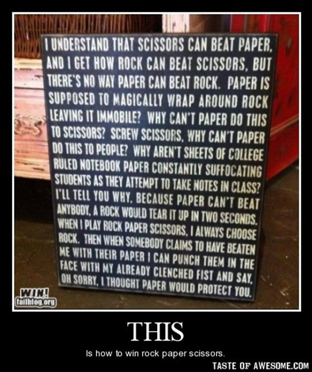 demotivational posters, paper rock scissors