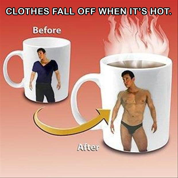 dissapearing clothes, coffee mug