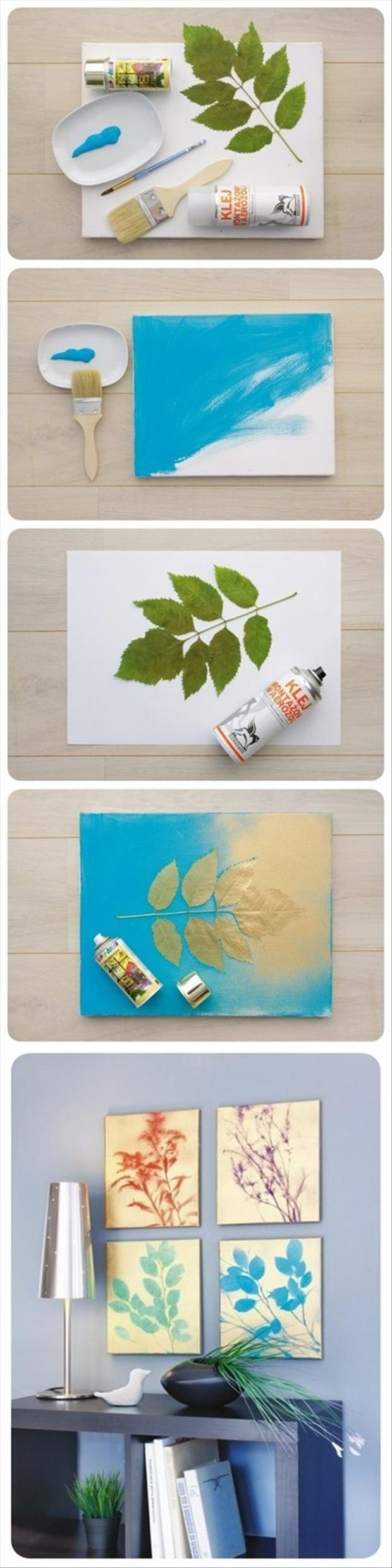 do it yourself crafts, painted leaf art