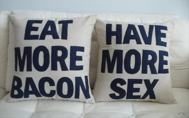 funny couch pillows, eat more bacon, have more sex