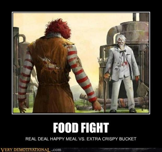 funny demotivational posters, food fight