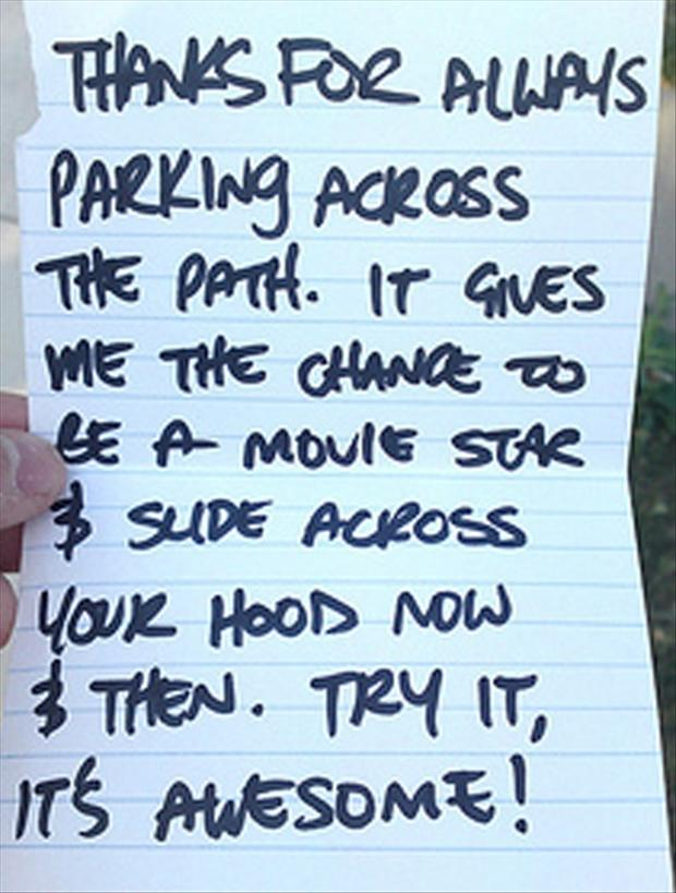 funny notes left on cars
