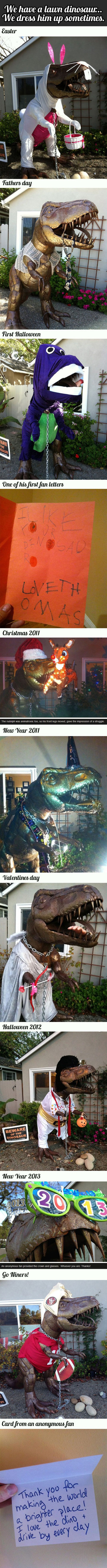 funny pictures, lawn dinosaur