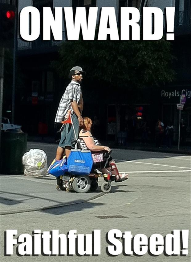 funny riding a wheelchair