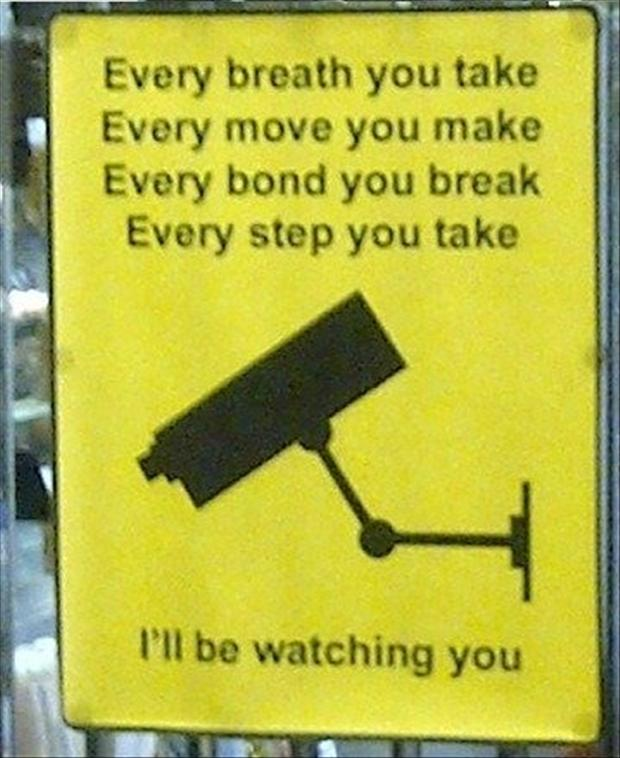 funny signs camera is watching you
