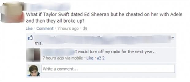 funny talor swift, adele, breakup, facebook updates