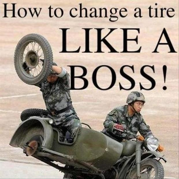 like a boss, change a tire