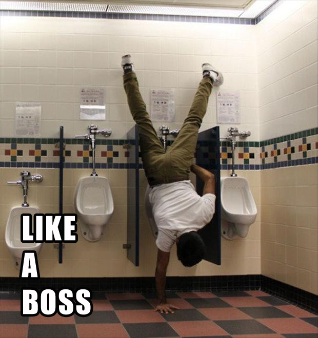 like a boss, peeing