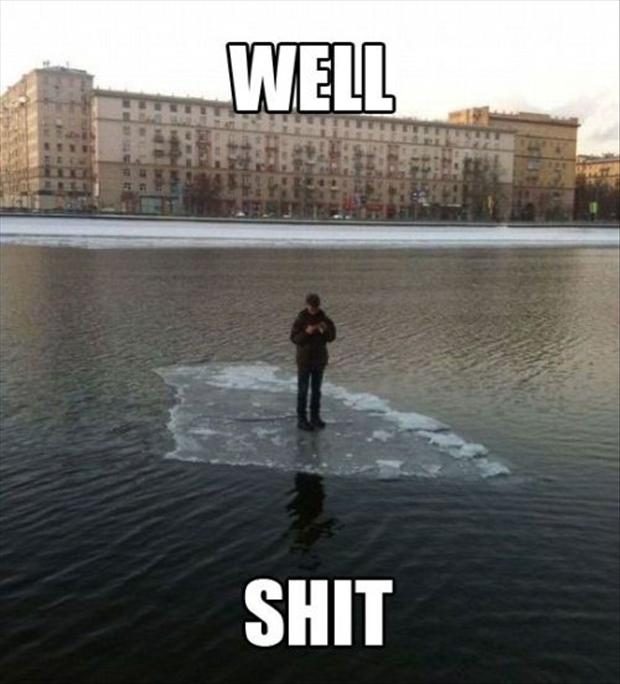 man standing on ice