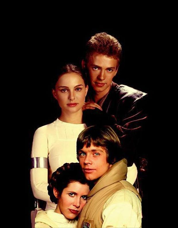 star wars, skywalker family photograph