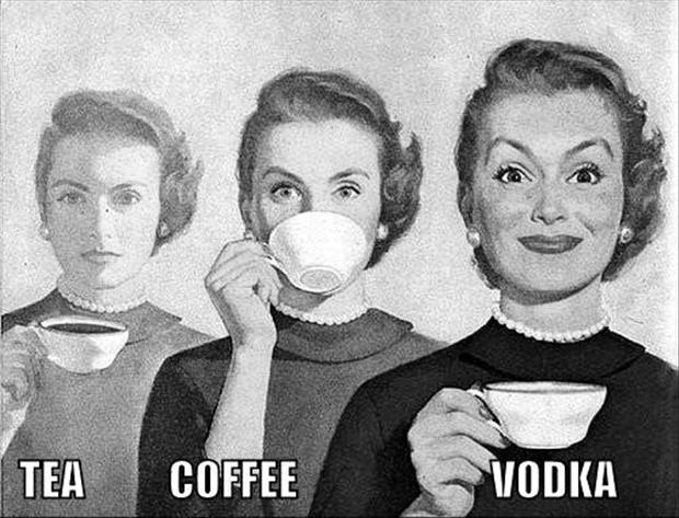 tea coffee and vodka